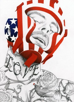 ilustracion de un boxeador tatuado por Richard Gray