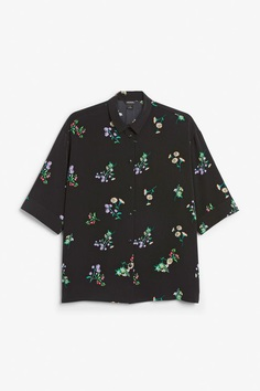 Oversized blouse - Black meadow - Monki DE