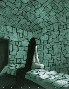 (via Art et Cancrelats: Marco Cazzato) #girl #writing #hair #illustration #thought #walls #swords #paper #room