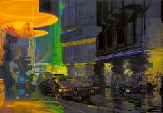 1980 ... Syd Mead- 'Bladerunner' concepts | Flickr - Photo Sharing! #mead #blade #night #runner #concept #art #street #signs #syd #neon