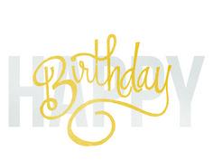 Happy Birthday #happy #lettering #yellow #birthday #grey #gray #hand #typography