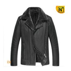 Sheepskin Leather Jacket Black CW852202 #sheepskin #jacket #leather
