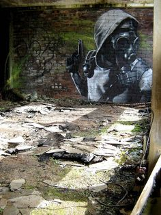 Apocalyptic portrait graffiti street art #graffiti #realism #street #art #realistic