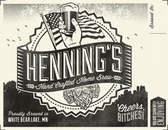 Henning's Home Brew #packaging #beer #label #bottle