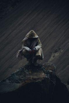 Bhikkhu at iainclaridge.net #man #photography #stone #sitting