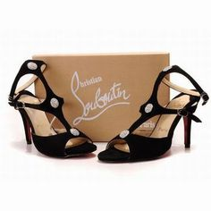 Christian Louboutin Spartenvol Strass 100mm Black Sandals #shoes