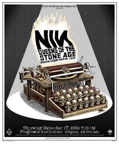 Tumblr #illustration #gig poster #skulls #typewriter #nin #queens of the stoneage