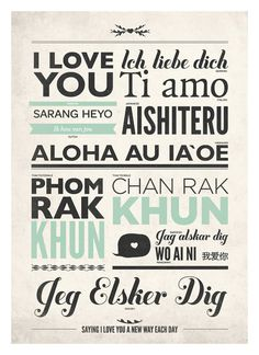 Love typography wall decor in different language