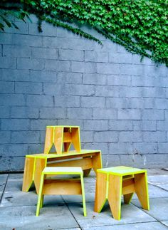 Stack Stools with Stack Bench by Kahokia Design, Brooklyn, NY. #ny #new #bench #stool #wood #paint #furniture #kahokia #stools #york #nyc #plywood #seating #brooklyn #neon