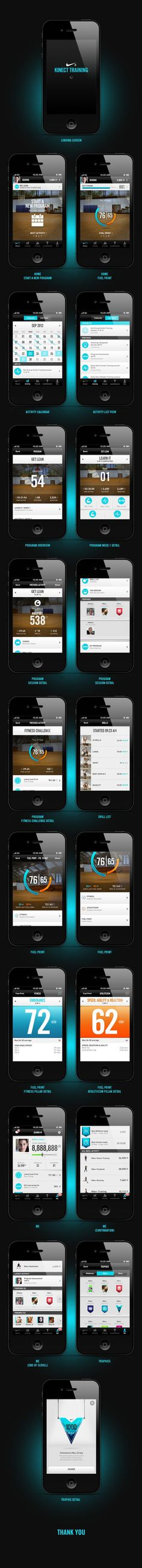 Nike+ Kinect Training (iphone app) on Behance #kinect #ui #iphone #nike #app #xbox