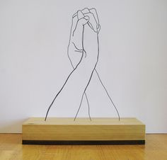 """Hands Clasped"" wire sculpture #sculpture #wire"