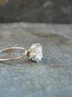 Raw Herkimer Diamond Ring, Wedding Day Her, Raw Crystal Ring for Her, Engagement Ring, Wife Annivers - wedding anniversary for her