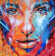 Fire and Ice Abstract Portrait Painting