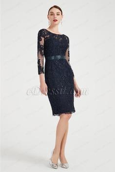 eDressit Dark Blue Sparkle Lace Party Mother of Bride Dress (26200505)