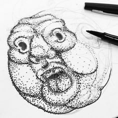 Photo by sergidelgado #draw #illustration #point #pointillism #face #drawing #sketch
