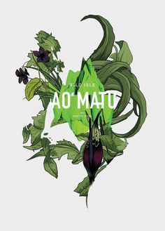 AO MATU #poster #print #kfksstore #design #illustration #art #green #3d #tropical #floral
