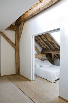 Attic bedroom. #attic #bedroom #beam
