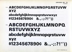Univers 75 type specimen.