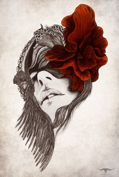 Deathblow on Behance #ink #red #rose #design #illustration #art #drawing #beauty