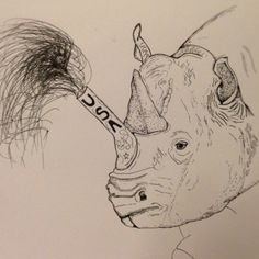 Rhinotriotic #ink #white #black #pen #flash
