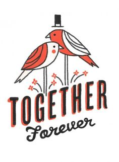 i like the colors and the whimsy #design #illustration #logo #red #birds #flowers #wedding #together #forever