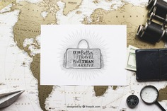 Travel concept with paper Free Psd. See more inspiration related to Mockup, Vintage, Travel, Money, Paper, Map, Retro, World map, World, Mock up, Glass, Drawing, Compass, Adventure, Decorative, Magnifying glass, Tourism, Vacation, Cash, Trip, Holidays, Magnifier, Journey, Up, Vintage paper, Binoculars, Concept, Traveling, Vintage retro, Traveler, Purse, Explore, Magnifying, Worldwide, Composition, Mock and Touristic on Freepik.
