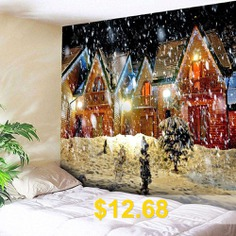 Christmas #Snowy #Evening #Pattern #Waterproof #Wall #Hanging #Tapestry #- #COLORFUL
