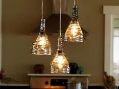 25 Creative Wine Bottle Chandelier Ideas #wine bottle #light #chandelier