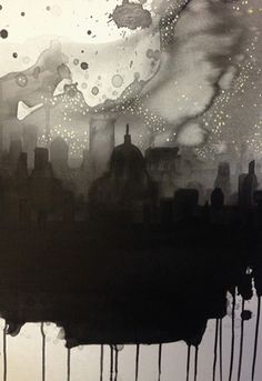 See The City By Starlight Art Print by Rebecca Hunter Easyart.com #ink #cityscape #city #print #design #black #monochrome #poster #skyline