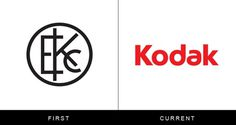 The original and current form of famous logos | StockLogos.com #logo #history #kodak #old