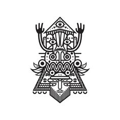 Black & white totem series. http://society6.com/MuratSunger #shop #print #illustration #bnw #art #society #bw