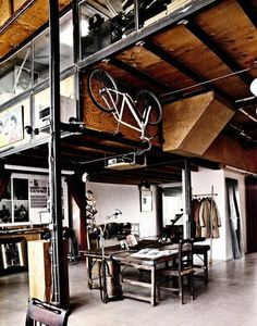 THE BROWN WORKSHOP #interior #wood #roof #bike