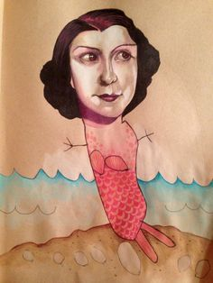 Artist collaborates with her 4-year-old #kid #mermaid #illustration #portrait #drawing