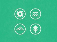 Dribbble - Sun, Sea, Mountain, Tree by Brent Couchman