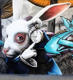 Rabbit from the book Alice in Wonderland graffiti street art #graffiti #realism #street #art #realistic