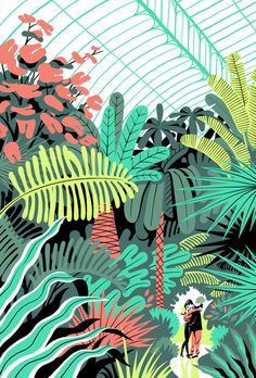 In the Greenhouse on Behance #couple #greenhouse #illustration #indoor #garden #green