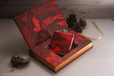 Hollow Book Safe and Hip Flask Edgar Allan Poe Tales of Mystery and Imagination (LEATHER BOUND) #allan #halloween #flask #books #book #hollow #edgar #illustration #poe #cool