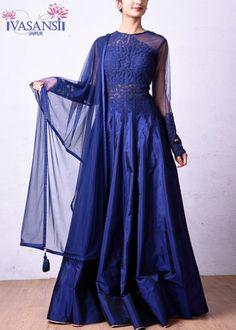 Vasansi Blue Silk Salwar Suit