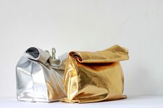 Leather paper bag #product design #silver #paper #diy #leather #golden #gold #bag