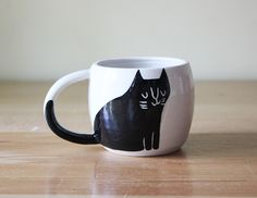 Cups : Black Cat Double Espresso Cup by Beardbangs.ca