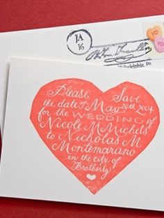 Bird And Banner #heart #red #invitation #handwritten #wedding