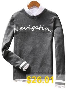 Navigation #Graphic #Varsity #Stripe #Sweater #- #GRAY