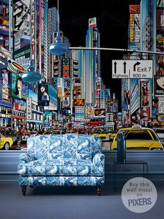 Streets of New York #interior #mural #city #design #lights #decor #home #wall #york #nyc #new