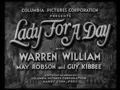 Lady for a Day (1933) Title Card #movie #lettering #title #card #vintage #type
