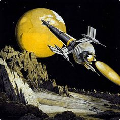 movement #illustration #retro #yellow #science fiction #spaceship #frank tinsley