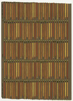On brown ground, regular horizontal rows of vertically oriented pencils, outlined in black, colored bright red, orange, yellow and chartreus #pattern #color #illustration #pencils #wallpaper