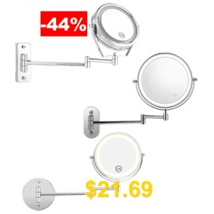 Bathroom #Wall #LED #Cosmetic #Folding #Lamp #Retractable #Double #Sided #Magnification #Beauty #Mirror