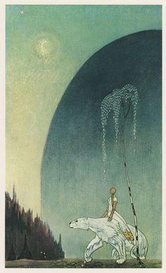 Golden Age Illustrator: Kay Nielsen 50 Watts #polar #fantasy #riding #landscape #illustration #bear #surreal