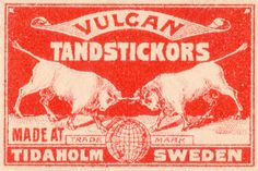 vintage sweden packaging (vulcan) #sweden #branding #print #vintage #matchbook