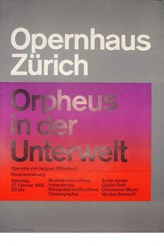 Josef Müller-Brockmann ORPHEUS IN DER UNTERWELT [ 128CM X 90CM ] via www.blanka.co.uk